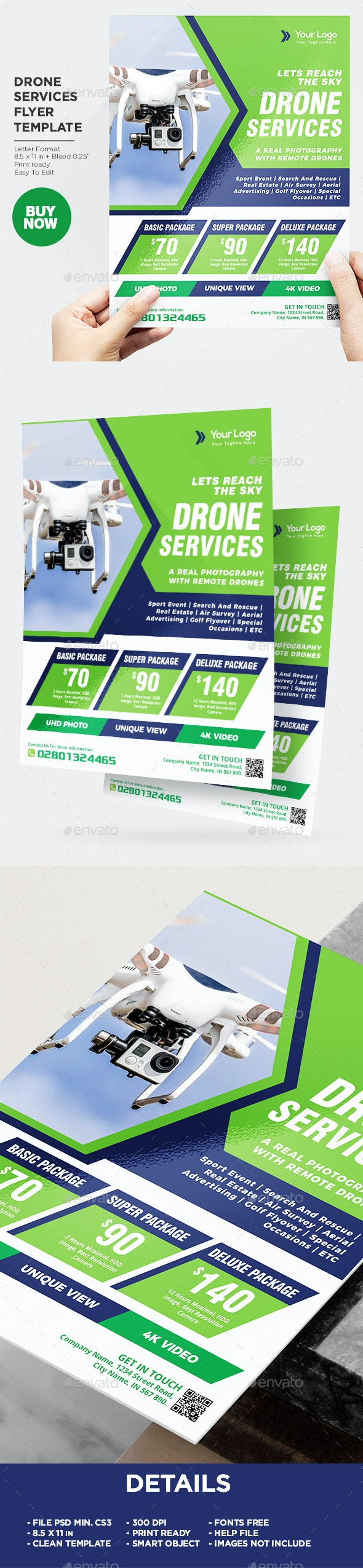 Drone Services Flyer Template - Commerce Flyers