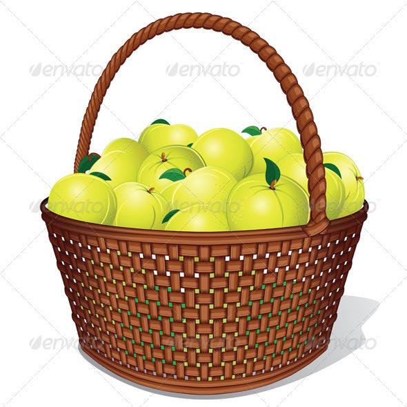 Vector Apple Basket