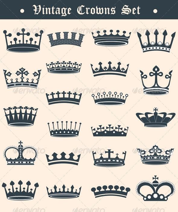 Vintage crowns set - Decorative Symbols Decorative