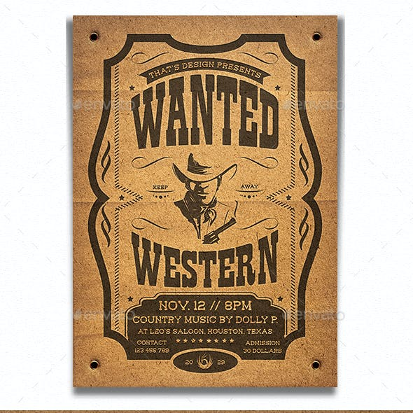 Wanted Western Party Flyer Template V2