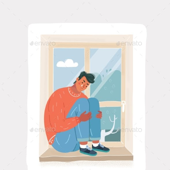 Depressed Crying Man Sitting at the Window Alone