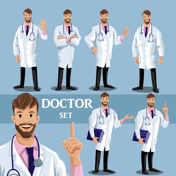 Set of Cartoon Doctors