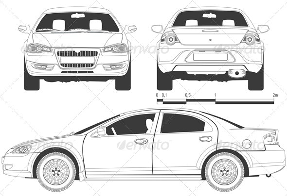 Vector Modern Car Drawing - Man-made Objects Objects