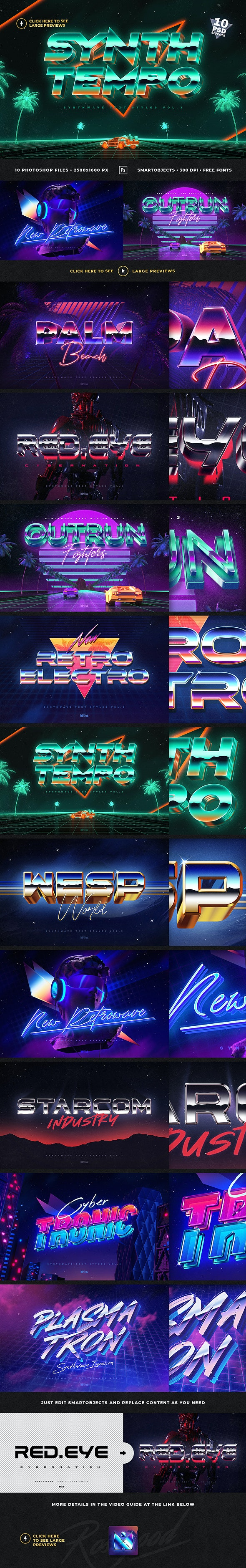 80`s Retro Text Effects vol.3 Synthwave Retrowave