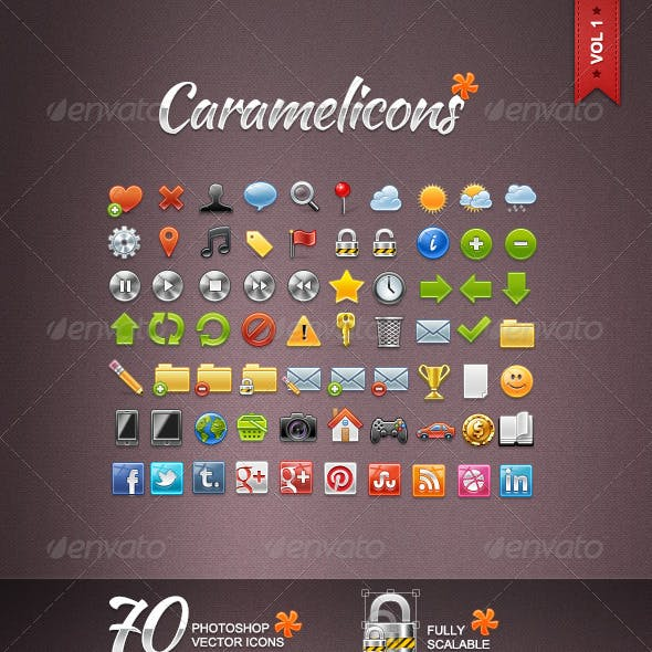 Caramelicons - 70 Photoshop Vector Icons