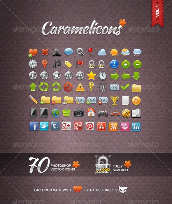 Caramelicons - 70 Photoshop Vector Icons - Web Icons