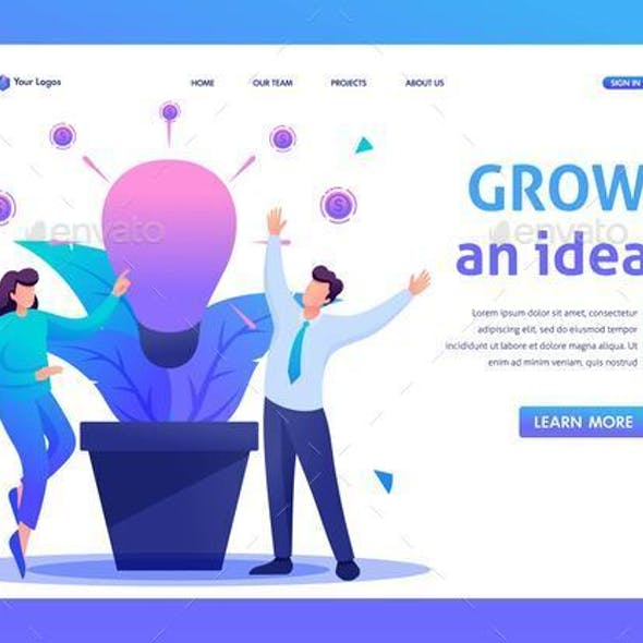 People Enjoy The Growth Of Business Idea.  Flat 2D Character. Web Design