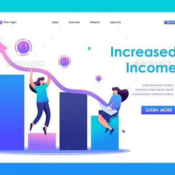 Girls Create a Profitable Business.  Flat 2D Character. Web Design