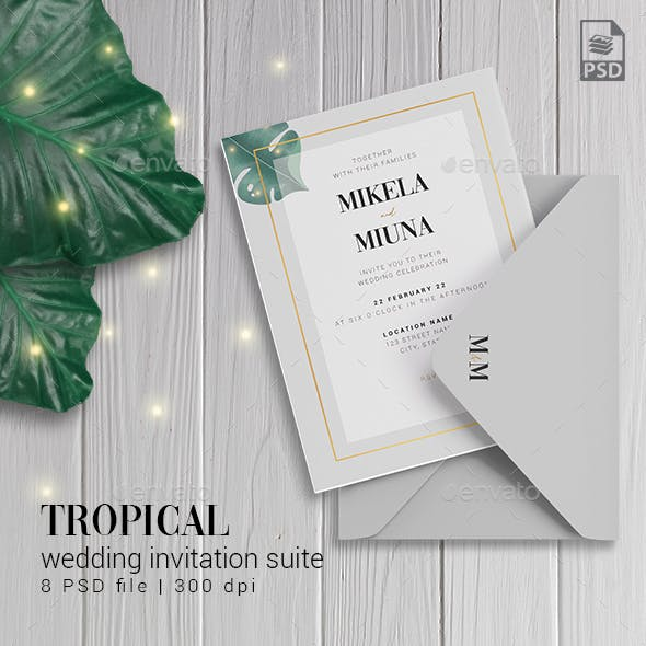 Tropical Leaf Wedding Invitation Suite
