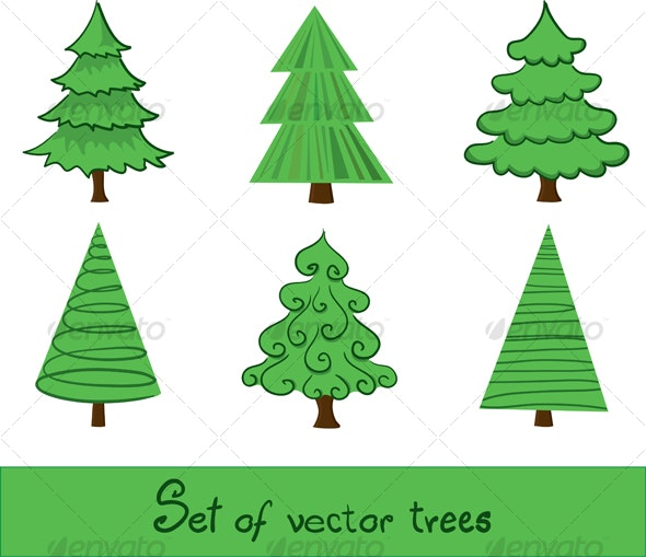 Set of vector trees. - Flowers & Plants Nature
