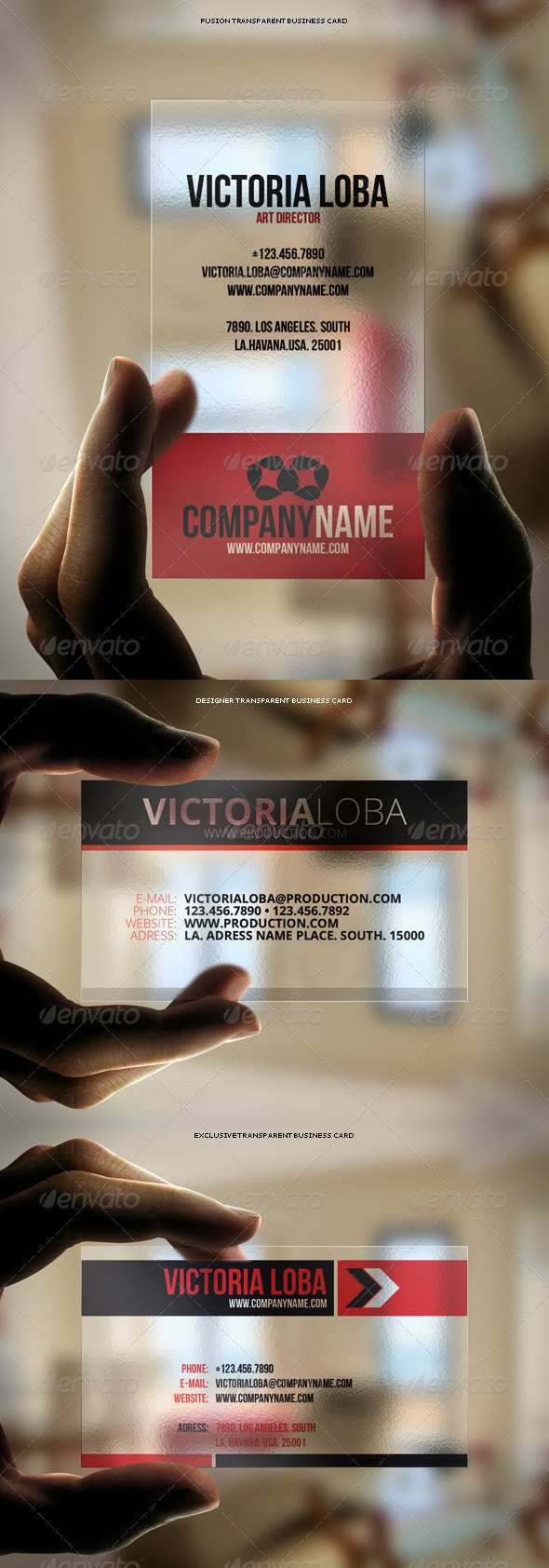 3in1 Transparent Business Cards Bundle #3 - Business Cards Print Templates