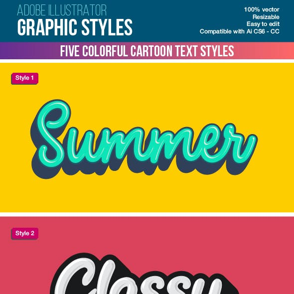 Five Colorful Calligraphy Illustrator Graphic Styles