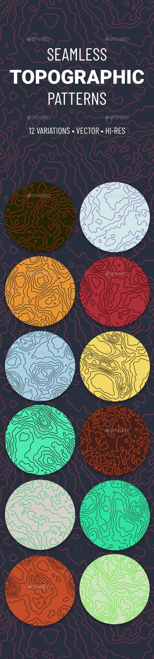 Seamless Topographic Pattern Set - Backgrounds Decorative
