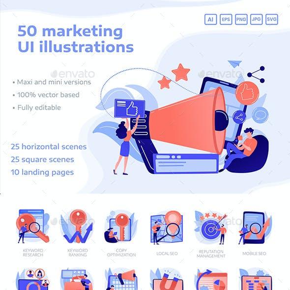 50 Digital Marketing UI Illustrations and Landing Page Templates