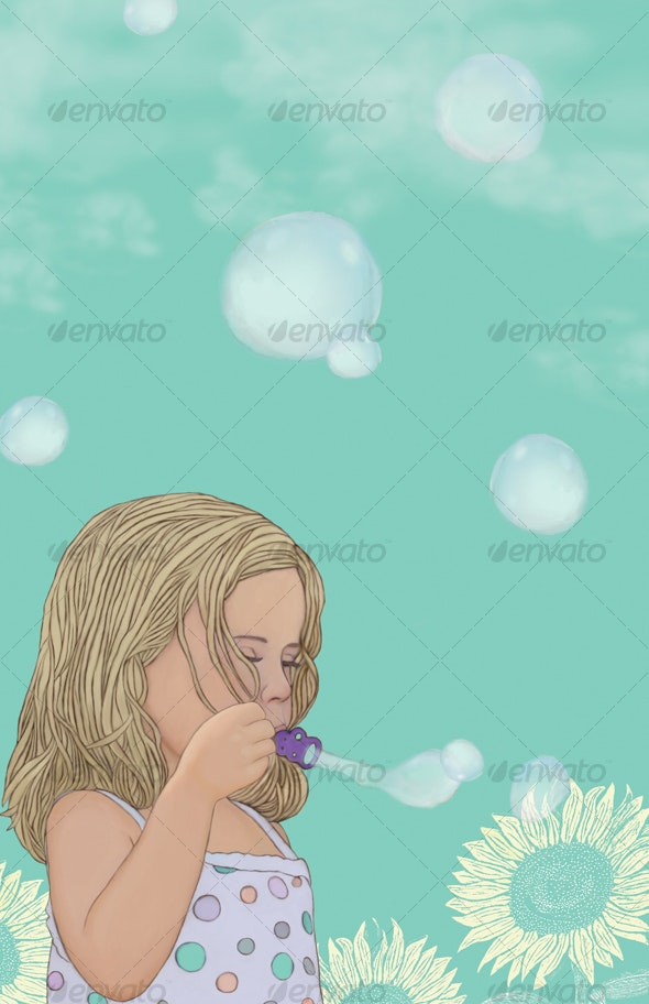 Little Girl Blowing Bubbles - People Illustrations