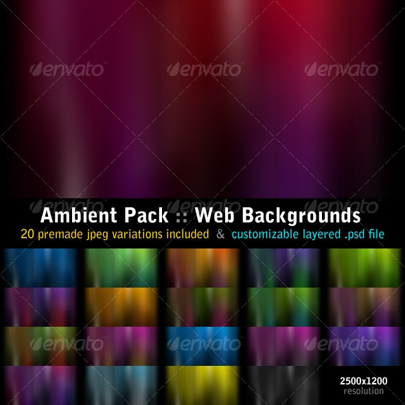 Ambient Pack :: 20 Web Backgrounds & Original PSD - Backgrounds Graphics