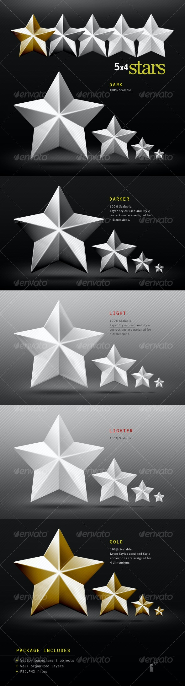 5 Coned Metalic Stars - Miscellaneous Graphics