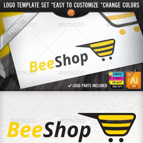 Bee Commerce Online Creative Shopping Logo Designs