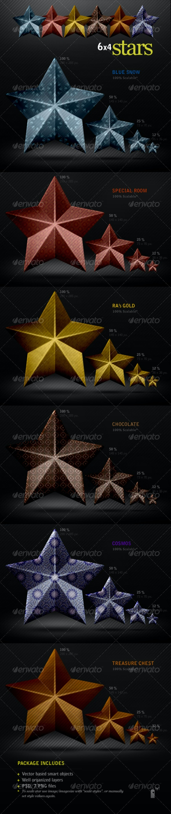 6 Coned Pattern Stars - Miscellaneous Graphics
