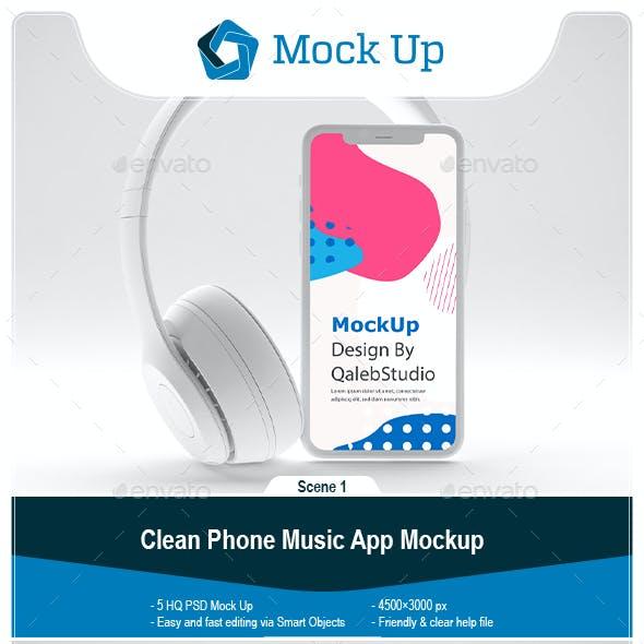 Clean Phone Music App Mockup