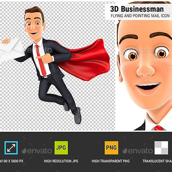3D Businessman Flying and Pointing Mail Icon