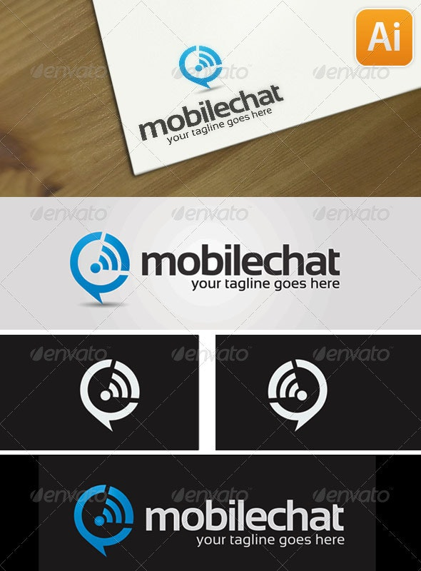 Mobile Chat  - Symbols Logo Templates