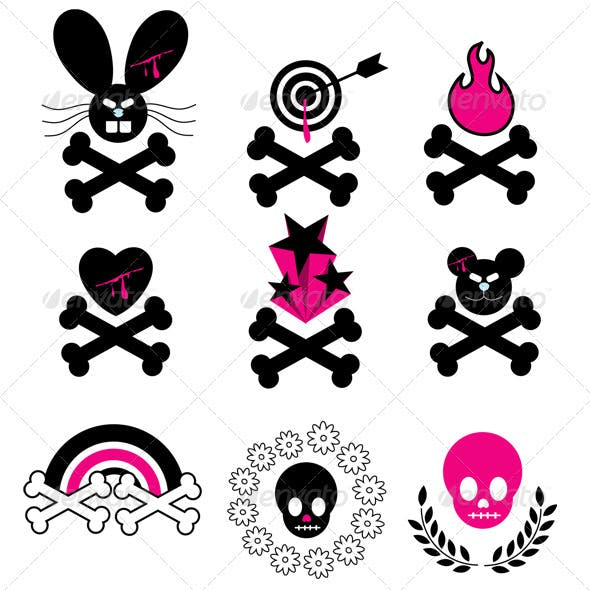 Vector Emo Skull & Bones Icons
