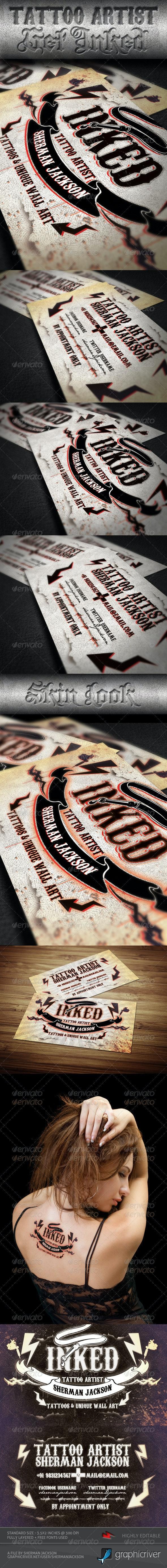 Tattoo Artist Business Card PSD Template - Business Cards Print Templates
