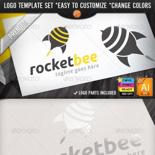 Social Marketing Pin Bee Launch Rocket Logo Design