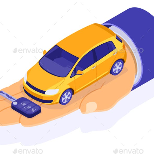 Purchase Rental and Sharing Car Isometric Concept