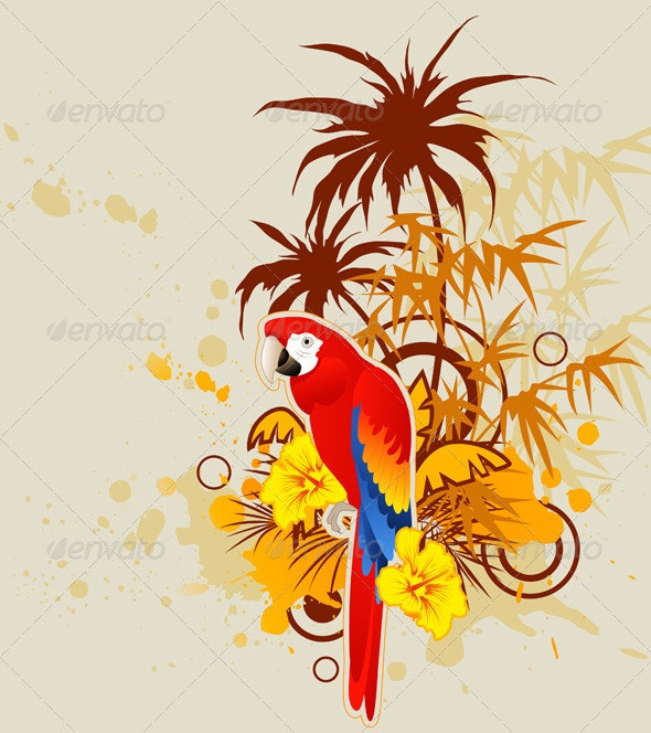 Background with Palm and Parrot - Animals Characters