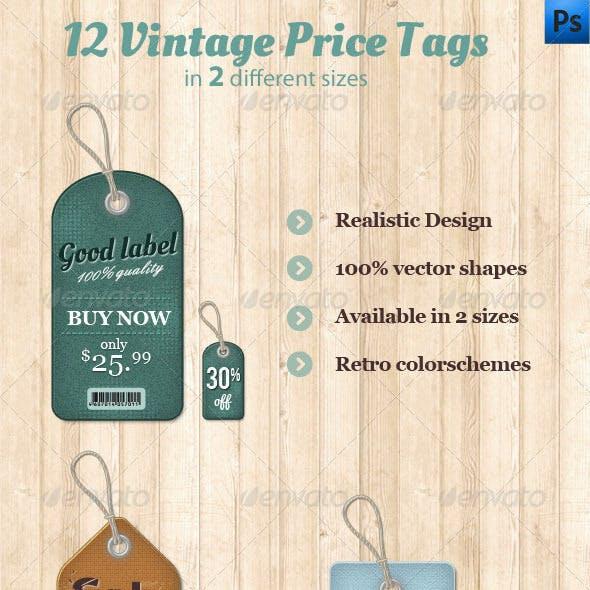 12 Vintage Price Tags