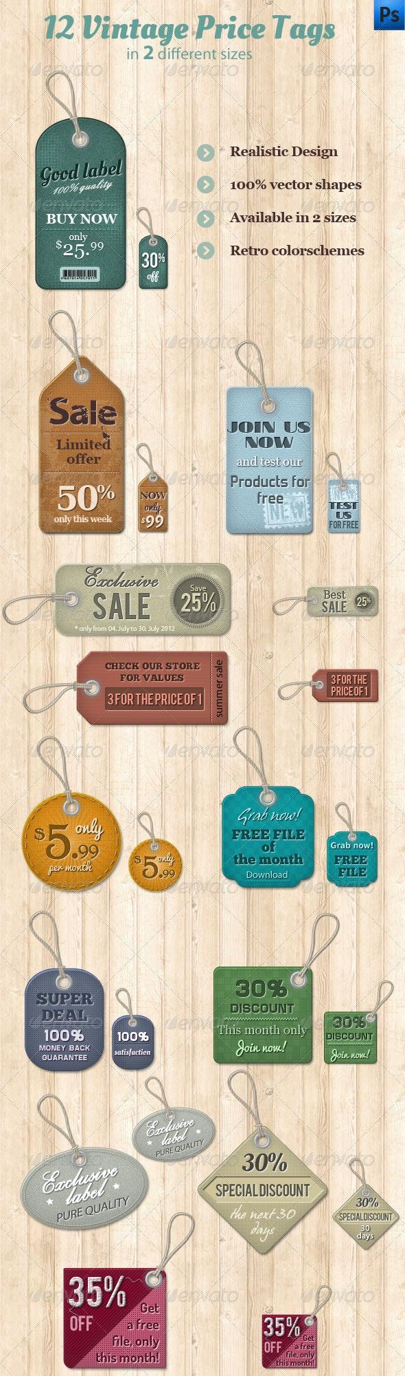 12 Vintage Price Tags - Miscellaneous Web Elements
