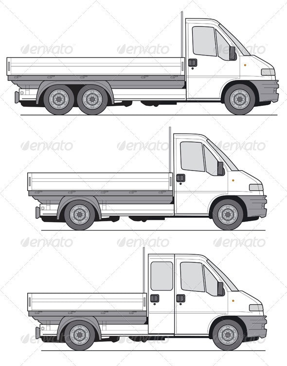 Delivery Van Truck Template - Objects Vectors