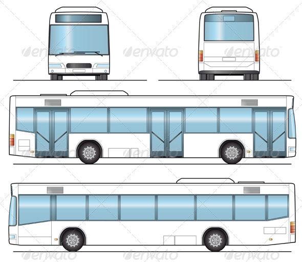 Public Bus Template - Objects Vectors