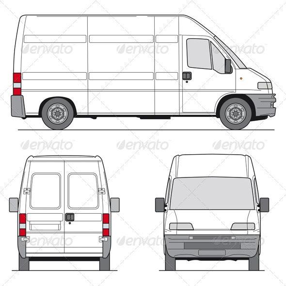 Delivery Van Template - Objects Vectors