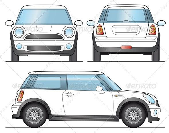 Mini Car Template - Objects Vectors