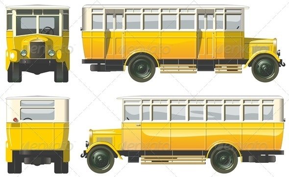 Vector Retro Autobus - Man-made Objects Objects