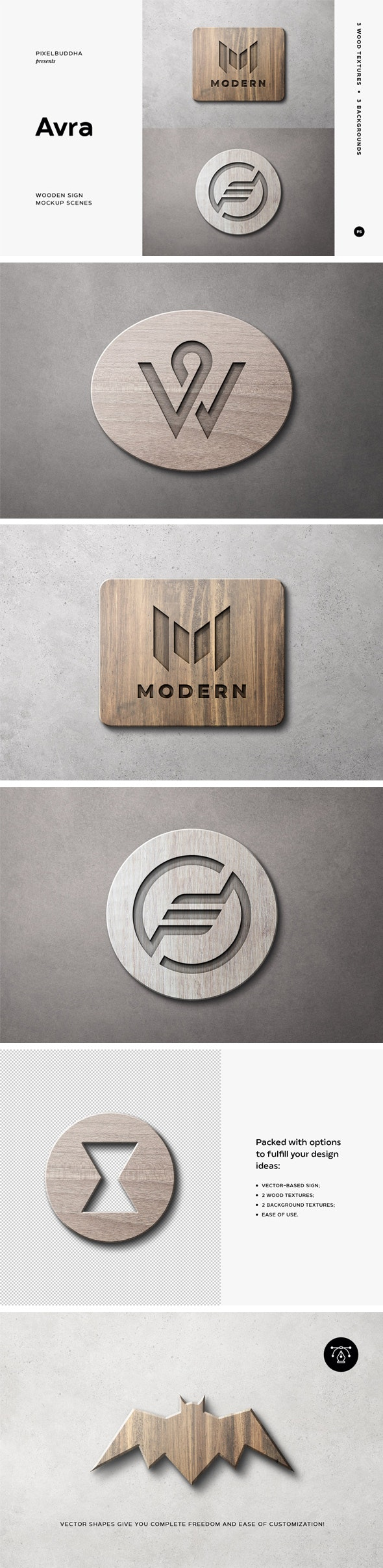 Wooden Sign Mockup Scenes - Text Effects Styles