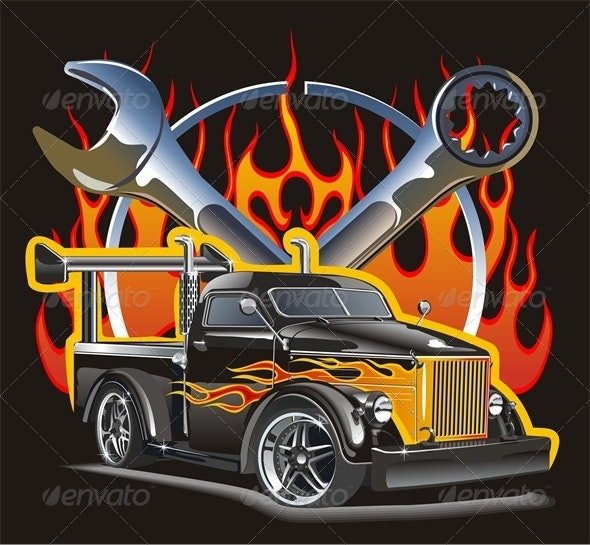 Vector Retro Hot Rod - Man-made Objects Objects