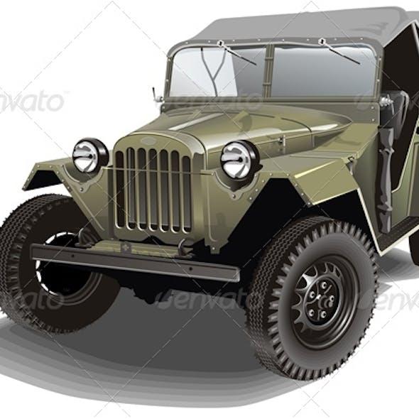Vector Retro Army Jeep
