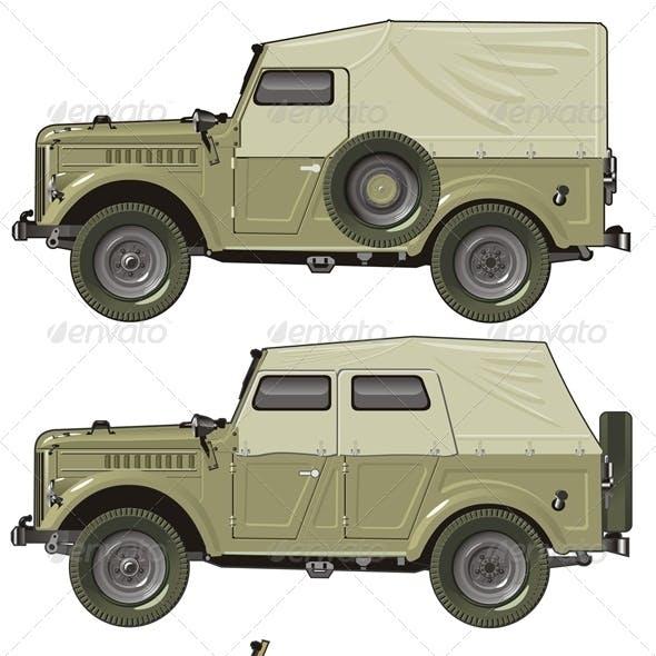 Vector Retro Jeep Set