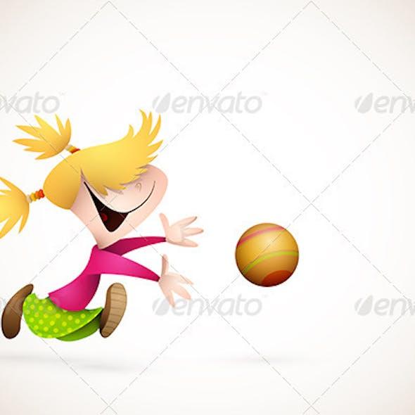 Little Girl PLaying Handball