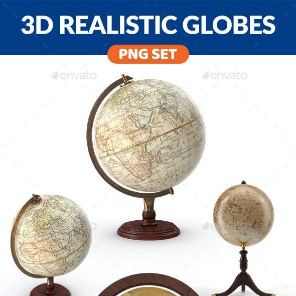 3D Realistic Globe PNG Set