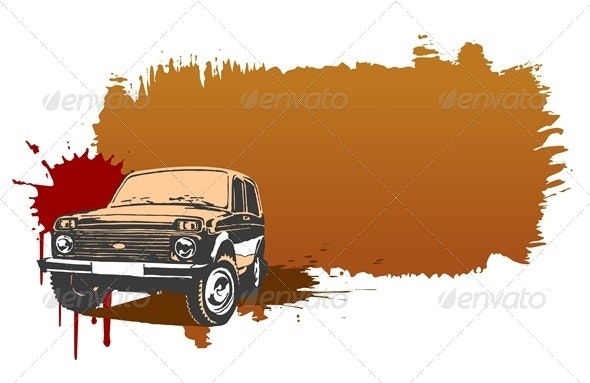 Vector Grunge Background with Jeep - Travel Conceptual