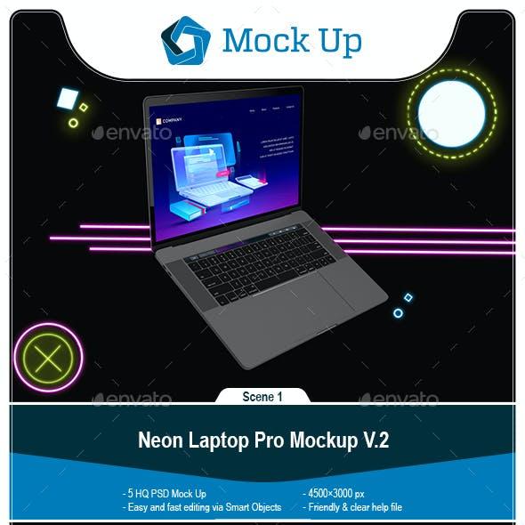Neon Macbook Pro Mockup V.2