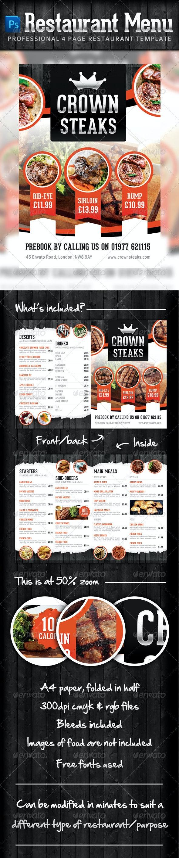 Modern Restaurant Food & Drinks Menu - Food Menus Print Templates