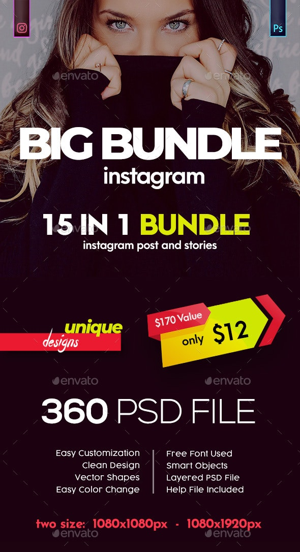Instagram Post and Stories Banner Bundle - Social Media Web Elements