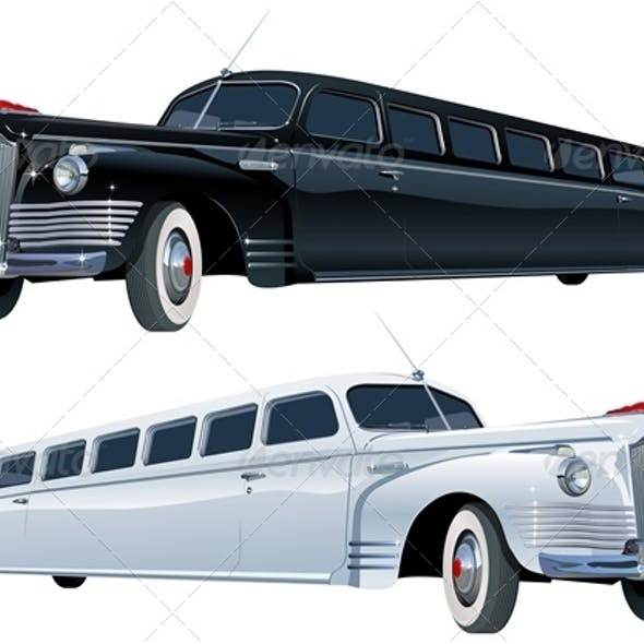 Vector Retro Limousine Set