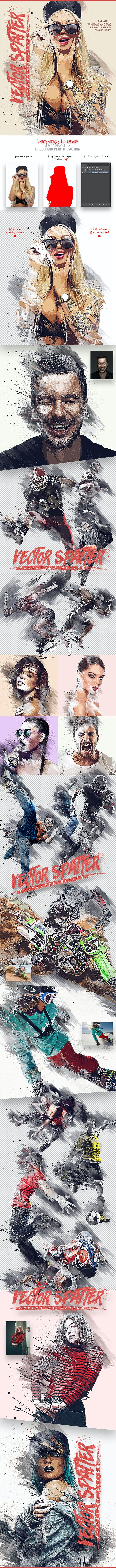 Vector Spatter Photoshop Action - Photo Effects Actions